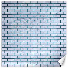 Brick1 White Marble & Teal Brushed Metal (r) Canvas 16  X 16   by trendistuff