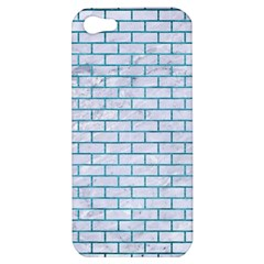 Brick1 White Marble & Teal Brushed Metal (r) Apple Iphone 5 Hardshell Case by trendistuff