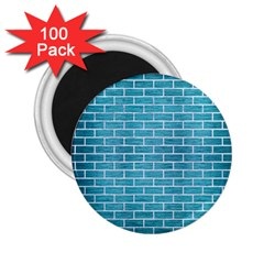 Brick1 White Marble & Teal Brushed Metal 2 25  Magnets (100 Pack)  by trendistuff