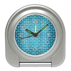 Brick1 White Marble & Teal Brushed Metal Travel Alarm Clocks by trendistuff