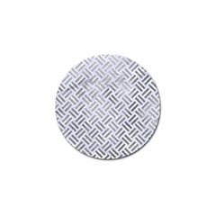 Woven2 White Marble & Silver Paint (r) Golf Ball Marker by trendistuff
