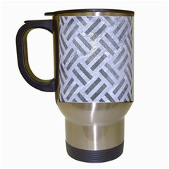 Woven2 White Marble & Silver Paint (r) Travel Mugs (white) by trendistuff