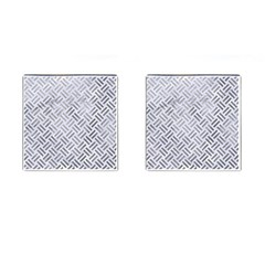 Woven2 White Marble & Silver Paint (r) Cufflinks (square) by trendistuff