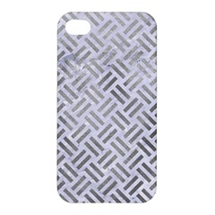 Woven2 White Marble & Silver Paint (r) Apple Iphone 4/4s Hardshell Case by trendistuff