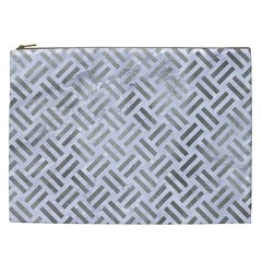 Woven2 White Marble & Silver Paint (r) Cosmetic Bag (xxl)  by trendistuff