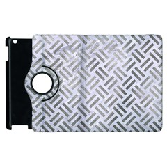 Woven2 White Marble & Silver Paint (r) Apple Ipad 2 Flip 360 Case by trendistuff