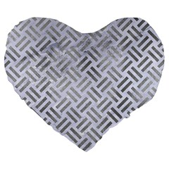 Woven2 White Marble & Silver Paint (r) Large 19  Premium Flano Heart Shape Cushions by trendistuff