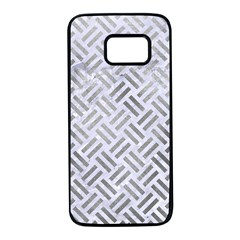 Woven2 White Marble & Silver Paint (r) Samsung Galaxy S7 Black Seamless Case by trendistuff