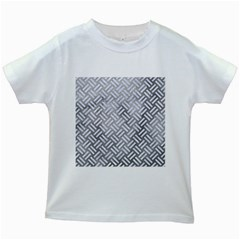 Woven2 White Marble & Silver Paint Kids White T Shirts