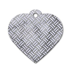 Woven2 White Marble & Silver Paint Dog Tag Heart (one Side) by trendistuff