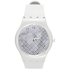 Woven2 White Marble & Silver Paint Round Plastic Sport Watch (m) by trendistuff