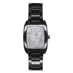 Woven2 White Marble & Silver Paint Stainless Steel Barrel Watch by trendistuff