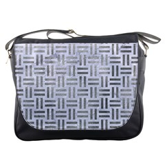 Woven1 White Marble & Silver Paint (r) Messenger Bags by trendistuff