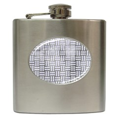 Woven1 White Marble & Silver Paint Hip Flask (6 Oz) by trendistuff