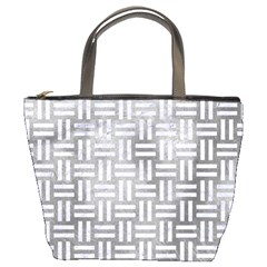 Woven1 White Marble & Silver Paint Bucket Bags by trendistuff