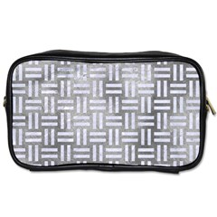 Woven1 White Marble & Silver Paint Toiletries Bags by trendistuff