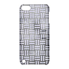 Woven1 White Marble & Silver Paint Apple Ipod Touch 5 Hardshell Case With Stand by trendistuff