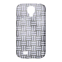 Woven1 White Marble & Silver Paint Samsung Galaxy S4 Classic Hardshell Case (pc+silicone) by trendistuff