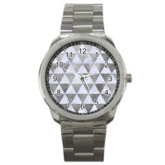 Triangle3 White Marble & Silver Paint Sport Metal Watch by trendistuff