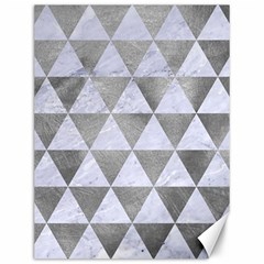 Triangle3 White Marble & Silver Paint Canvas 12  X 16   by trendistuff