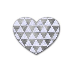 Triangle3 White Marble & Silver Paint Heart Coaster (4 Pack)  by trendistuff