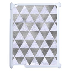 Triangle3 White Marble & Silver Paint Apple Ipad 2 Case (white) by trendistuff