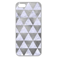 Triangle3 White Marble & Silver Paint Apple Seamless Iphone 5 Case (clear) by trendistuff