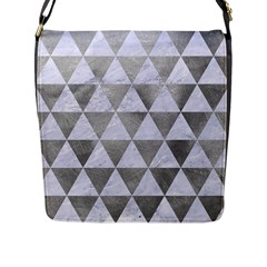 Triangle3 White Marble & Silver Paint Flap Messenger Bag (l)