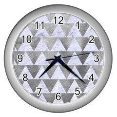 Triangle2 White Marble & Silver Paint Wall Clocks (silver)  by trendistuff