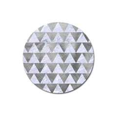 Triangle2 White Marble & Silver Paint Magnet 3  (round)