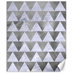 Triangle2 White Marble & Silver Paint Canvas 20  X 24   by trendistuff
