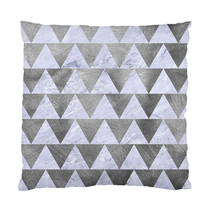 TRIANGLE2 WHITE MARBLE & SILVER PAINT Standard Cushion Case (Two Sides)