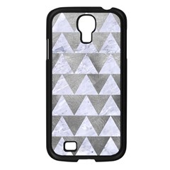 Triangle2 White Marble & Silver Paint Samsung Galaxy S4 I9500/ I9505 Case (black) by trendistuff