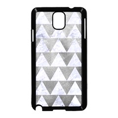 Triangle2 White Marble & Silver Paint Samsung Galaxy Note 3 Neo Hardshell Case (black) by trendistuff