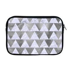Triangle2 White Marble & Silver Paint Apple Macbook Pro 17  Zipper Case by trendistuff