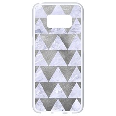 Triangle2 White Marble & Silver Paint Samsung Galaxy S8 White Seamless Case by trendistuff