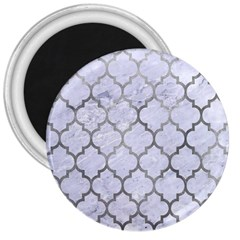 Tile1 White Marble & Silver Paint (r) 3  Magnets by trendistuff