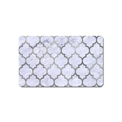 Tile1 White Marble & Silver Paint (r) Magnet (name Card) by trendistuff