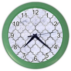 Tile1 White Marble & Silver Paint (r) Color Wall Clocks by trendistuff