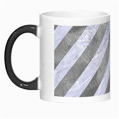 Stripes3 White Marble & Silver Paint (r) Morph Mugs by trendistuff