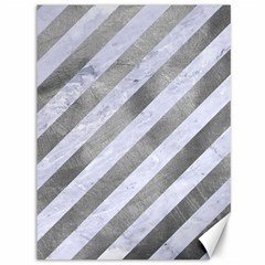 Stripes3 White Marble & Silver Paint (r) Canvas 36  X 48   by trendistuff
