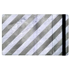 Stripes3 White Marble & Silver Paint (r) Apple Ipad 2 Flip Case by trendistuff