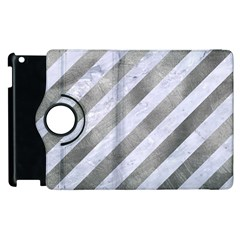 Stripes3 White Marble & Silver Paint (r) Apple Ipad 2 Flip 360 Case by trendistuff