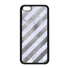 Stripes3 White Marble & Silver Paint (r) Apple Iphone 5c Seamless Case (black) by trendistuff