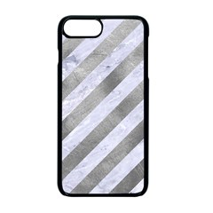 Stripes3 White Marble & Silver Paint (r) Apple Iphone 7 Plus Seamless Case (black) by trendistuff