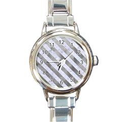 Stripes3 White Marble & Silver Paint Round Italian Charm Watch