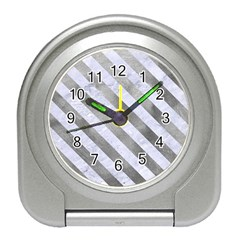Stripes3 White Marble & Silver Paint Travel Alarm Clocks by trendistuff