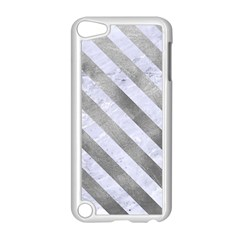 Stripes3 White Marble & Silver Paint Apple Ipod Touch 5 Case (white) by trendistuff