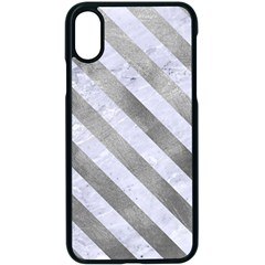 Stripes3 White Marble & Silver Paint Apple Iphone X Seamless Case (black)