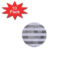 Stripes2white Marble & Silver Paint 1  Mini Buttons (10 Pack)  by trendistuff